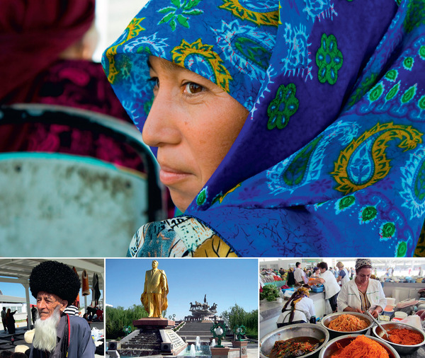 Woman on a bus in the desert city of Mary (dbimages / Alamy). The two outside shots at the bottom are from the Tolkuchka Bazaar in the capital, Ashgabat. Sandwiched between them is the self-glorifying golden statue erected by the former dictator Saparmurat Niyazov.