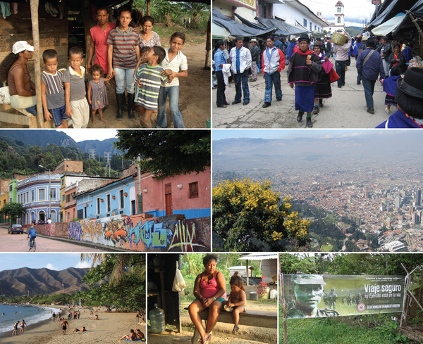 Top: people in a makeshift camp in Chocó province seeking to return to land controlled by paramilitary-linked businesses; a street scene in Silvia, near Popayan, in the south, where there is a higher proportion of indigenous people. Middle: the capital, Bogotá, is famous for its graffiti;  but the smog-bound vista on the right shows its high-rise centre and how it sprawls. Bottom: tourism potential on the Caribbean coast; a quiet moment in Chocó province; 'safe journey' is the message from the army, which has made the roads secure but at a cost to human rights.
