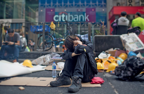 Under the influence: a protester makes his feelings felt during demonstrations in Hong Kong, October 2014.